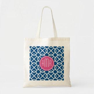 Hot Pink & Blue Geometric Pattern Monogram Bags