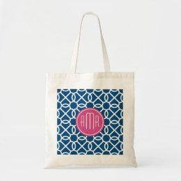 Hot Pink & Blue Geometric Pattern Monogram Tote Bag