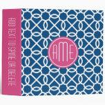 Hot Pink & Blue Geometric Pattern Monograms 3 Ring Binder