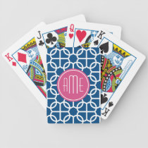 Hot Pink & Blue Geometric Pattern Monograms Bicycle Playing Cards