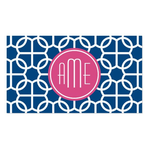 Hot Pink & Blue Geometric Pattern Monograms Business Card