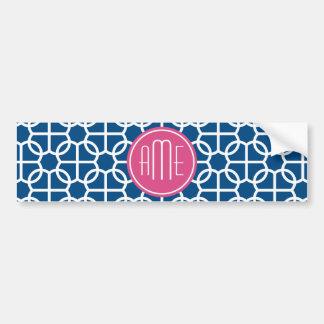 Hot Pink & Blue Geometric Pattern Monograms Car Bumper Sticker
