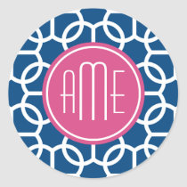 Hot Pink & Blue Geometric Pattern Monograms Classic Round Sticker