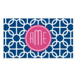 Hot Pink & Blue Geometric Pattern Monograms Double-Sided Standard Business Cards (Pack Of 100)