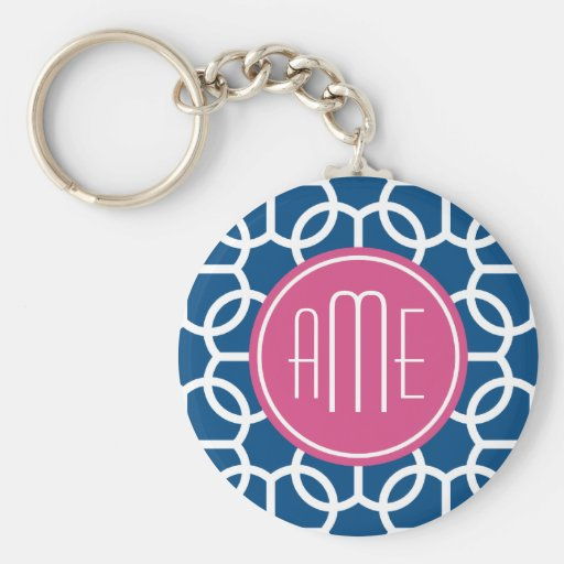 Hot Pink & Blue Geometric Pattern Monograms Key Chains