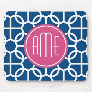 Hot Pink & Blue Geometric Pattern Monograms Mouse Pad