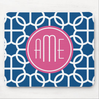 Hot Pink & Blue Geometric Pattern Monograms Mouse Pad