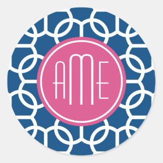 Hot Pink & Blue Geometric Pattern Monograms Stickers