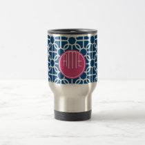 Hot Pink & Blue Geometric Pattern Monograms Travel Mug