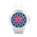 Hot Pink & Blue Geometric Pattern Monograms Wristwatch