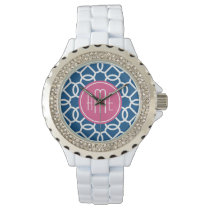 Hot Pink & Blue Geometric Pattern Monograms Wristwatch