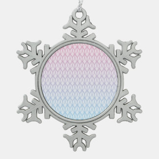 Hot Pink Blue Gradient Oval Pattern Snowflake Pewter Christmas Ornament