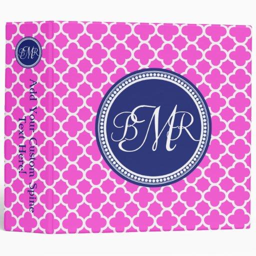 Hot Pink Blue Monogrammed Quatrefoil Personalized Binder