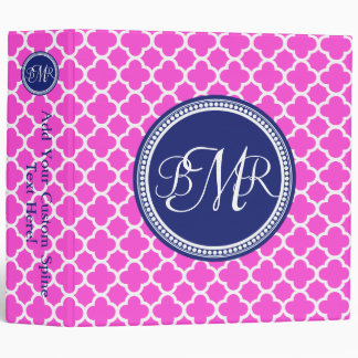 Hot Pink Blue Monogrammed Quatrefoil Personalized Binders