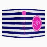 Hot Pink Blue Monogrammed Stripe Personalized Binder