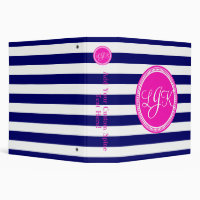 Hot Pink Blue Monogrammed Stripe Personalized Binder