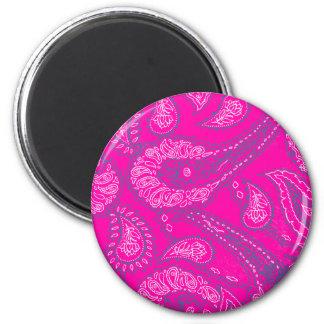 Hot Pink Blue Paisley Print Summer Fun Girly Magnets