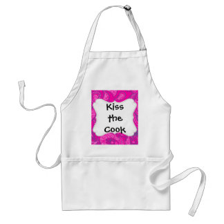 Hot Pink Blue Paisley Print Summer Fun Girly Patte Adult Apron