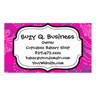 Hot Pink Blue Paisley Print Summer Fun Girly Patte Double-Sided Standard Business Cards (Pack Of 100)