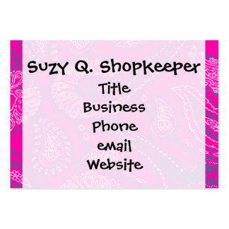Hot Pink Blue Paisley Print Summer Fun Girly Patte Large Business Cards (Pack Of 100)