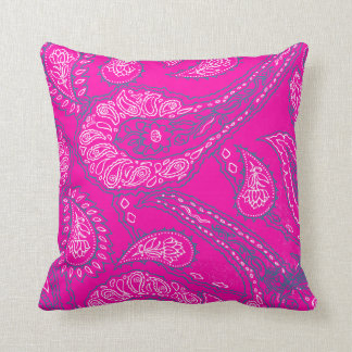 Hot Pink Blue Paisley Print Summer Fun Girly Patte Throw Pillows