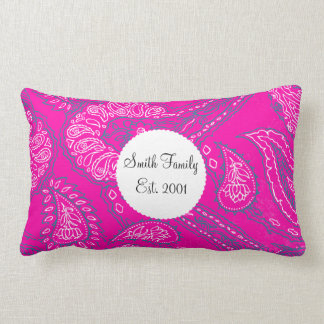 Hot Pink Blue Paisley Print Summer Fun Girly Patte Throw Pillow