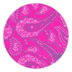 Hot Pink Blue Paisley Print Summer Fun Girly Stickers