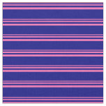 [ Thumbnail: Hot Pink & Blue Striped Pattern Fabric ]