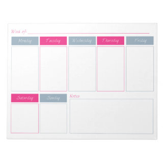 Hot Pink & Blue Weekly Planner Tear Off Notepad