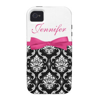Hot Pink Bow and Damask First Name iPhone Case iPhone 4/4S Case