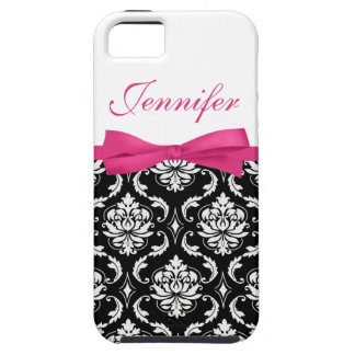 Hot Pink Bow and Damask First Name iPhone Case iPhone 5 Case