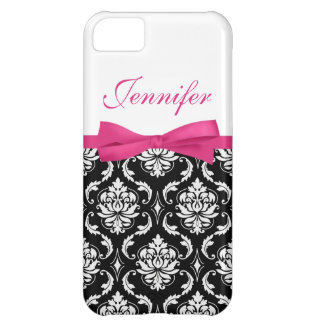 Hot Pink Bow and Damask First Name iPhone Case iPhone 5C Covers