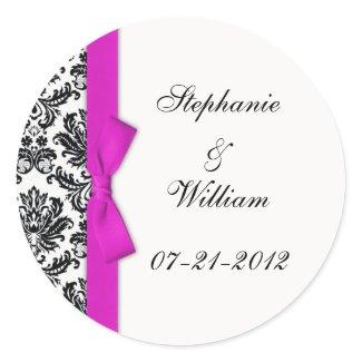 Hot Pink Bow Classic Damask Wedding Label sticker