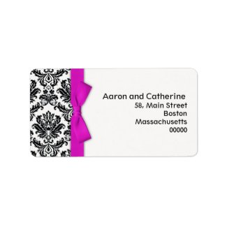 Hot Pink Bow Damask Address Labels label