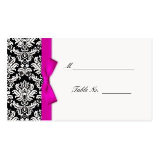Hot Pink Bow Damask Wedding Table Placecards Business Card