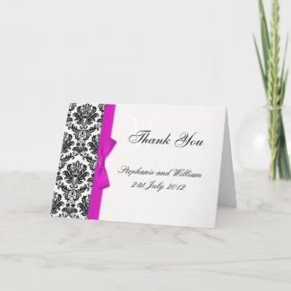 Hot Pink Bow Damask Wedding Thank You Cards card
