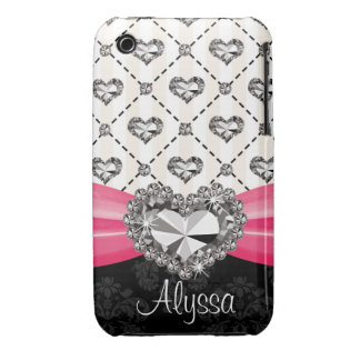 Hot Pink Bow Diamond Heart iPhone 3 Case Mate