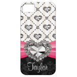 Hot Pink Bow Diamond Heart Rhinestone iPhone 5 Cover