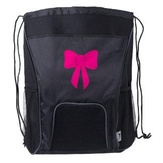 Hot Pink Bow Drawstring Backpack