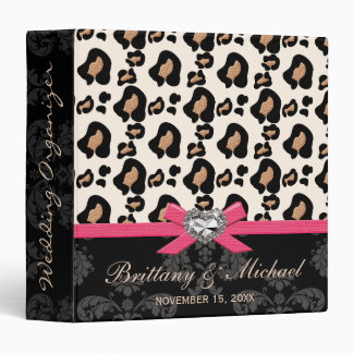 Hot Pink Bow Faux Bling Leopard Wedding Planner Binder