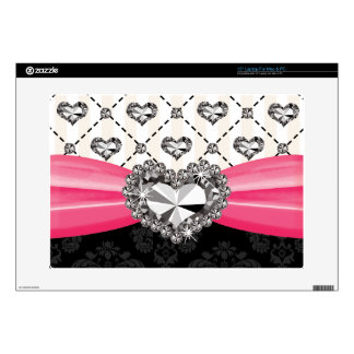 "Hot Pink Bow Faux Rhinestone Heart 15 Inch Laptop 15"" Laptop Skins"