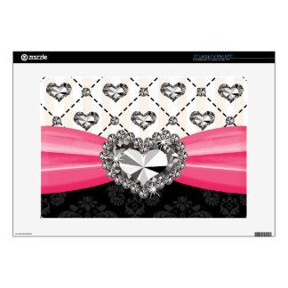"Hot Pink Bow Faux Rhinestone Heart 15 Inch Laptop 15"" Laptop Skins"