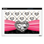 Hot Pink Bow Faux Rhinestone Heart 17 Inch Laptop  Laptop Decals