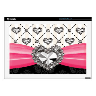"""Hot Pink Bow Faux Rhinestone Heart 17 Inch Laptop  Skin For 17"""" Laptop"""