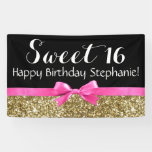 Hot Pink Bow Gold Glitter Sweet 16 Birthday Party Banner