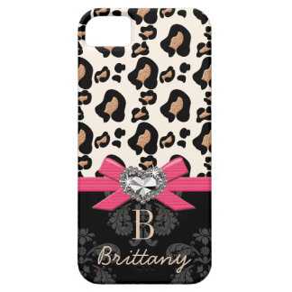 Hot Pink Bow Heart Shaped Faux Bling Leopard iPhone SE/5/5s Case