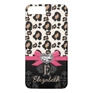 Hot Pink Bow Heart Shaped Faux Bling Leopard Print iPhone 7 Plus Case