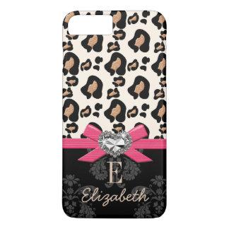 Hot Pink Bow Heart Shaped Faux Bling Leopard Print iPhone 8 Plus/7 Plus Case