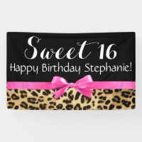 Hot Pink Bow Leopard Print Sweet 16 Birthday Party Banner