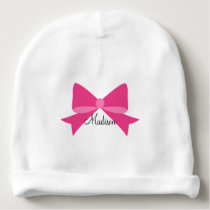 Hot Pink Bow Monogram Baby Beanie